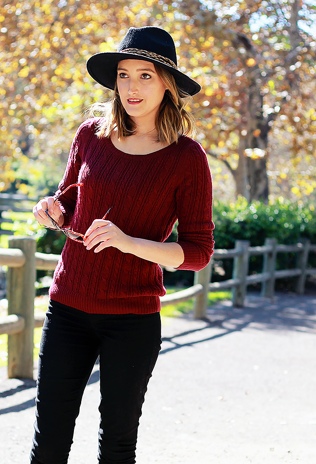 Burgundy Sweater + Fedora Fall Outfit