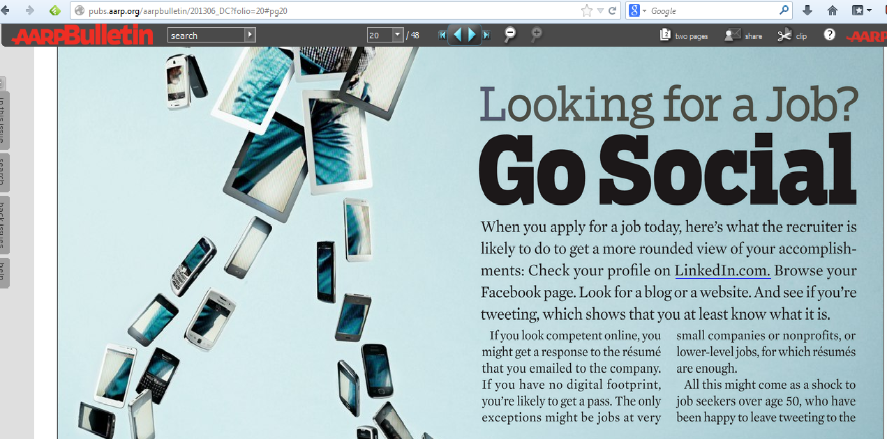 AARP article on social media for job hunting