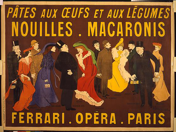 advertising, classic posters, food, free download, french poster, graphic design, retro prints, vintage, vintage posters, theater, movies, Pâtes aux œufs et aux légumes. Nouilles, macaronis. Ferrari, Opéra, Paris - Vintage French Theater Poster