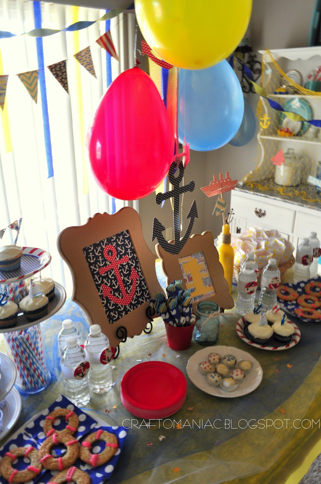 a nautical 1st birthday party craft o maniac. Black Bedroom Furniture Sets. Home Design Ideas