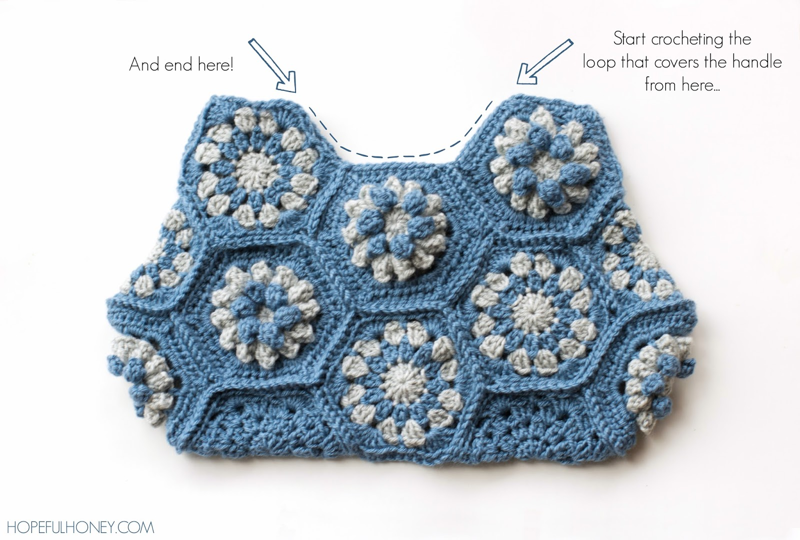 ... Honey Craft, Crochet, Create: Dahlia Hexagon Handbag Crochet Pattern