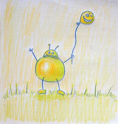 Pencil drawin robot holding a balloon