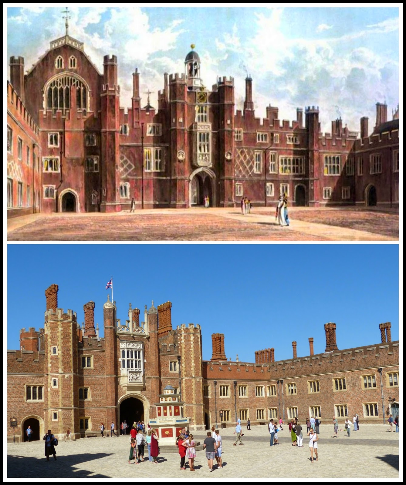 Top: Quadrangle, Hampton Court, from    The History of the Royal Residences by WH Pyne (1819)  Bottom: Hampton Court today © Andrew Knowle