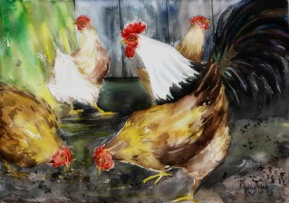 Striking  Bold Brush Strokes, Watercolor Painting Birds, Farm Animals, Chicken in Farm Yard