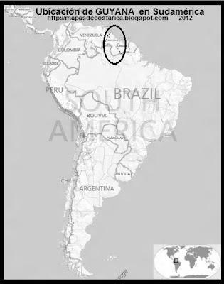 Ubicación de GUYANA en Sudamérica, BING, blanco y negro