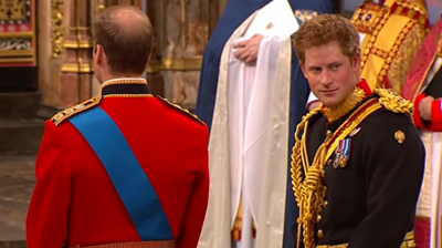 Curious Harry looks at the bride. YouTube 2011.