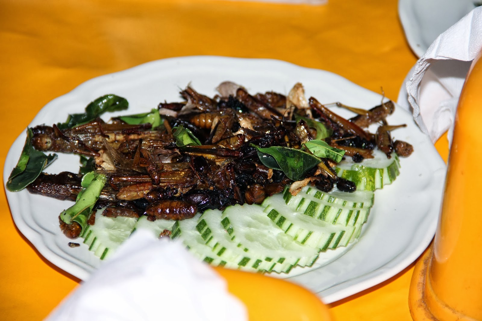 Fried grasshoppers.  Tasted just like CRUNCH!