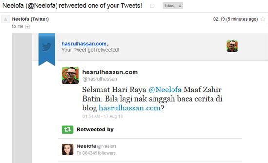 reTweet Neelofa dari OHBlogger HASRULHASSAN.COM