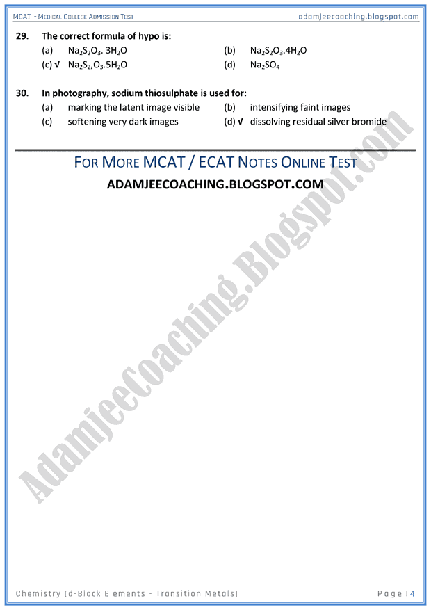 mcat-chemistry-d-block-elements---transition-metals-mcqs-for-medical-entry-test
