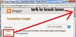 gambar Cara Menambahkan Widget lewat fitur tata letak blogger