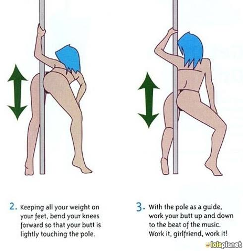 Pole Dancing for Beginners . How to do a pole dancing . Funny pole dancing steps . Funny picture . Comics