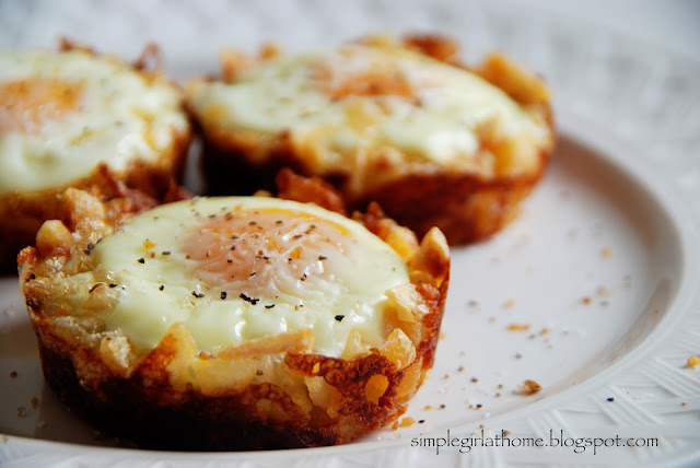 ... hash browns form a cheesy, crispy nest for deliciously baked eggs