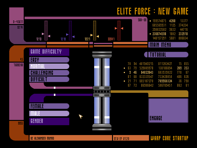 Star Trek Voyager Elite Force LCARS menu system