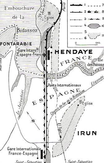 mapa hendaya estacion de tren