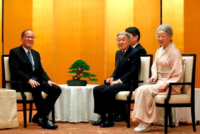 President Benigno Aquino III with their Majesties Emperor Akihito and Empress Michiko