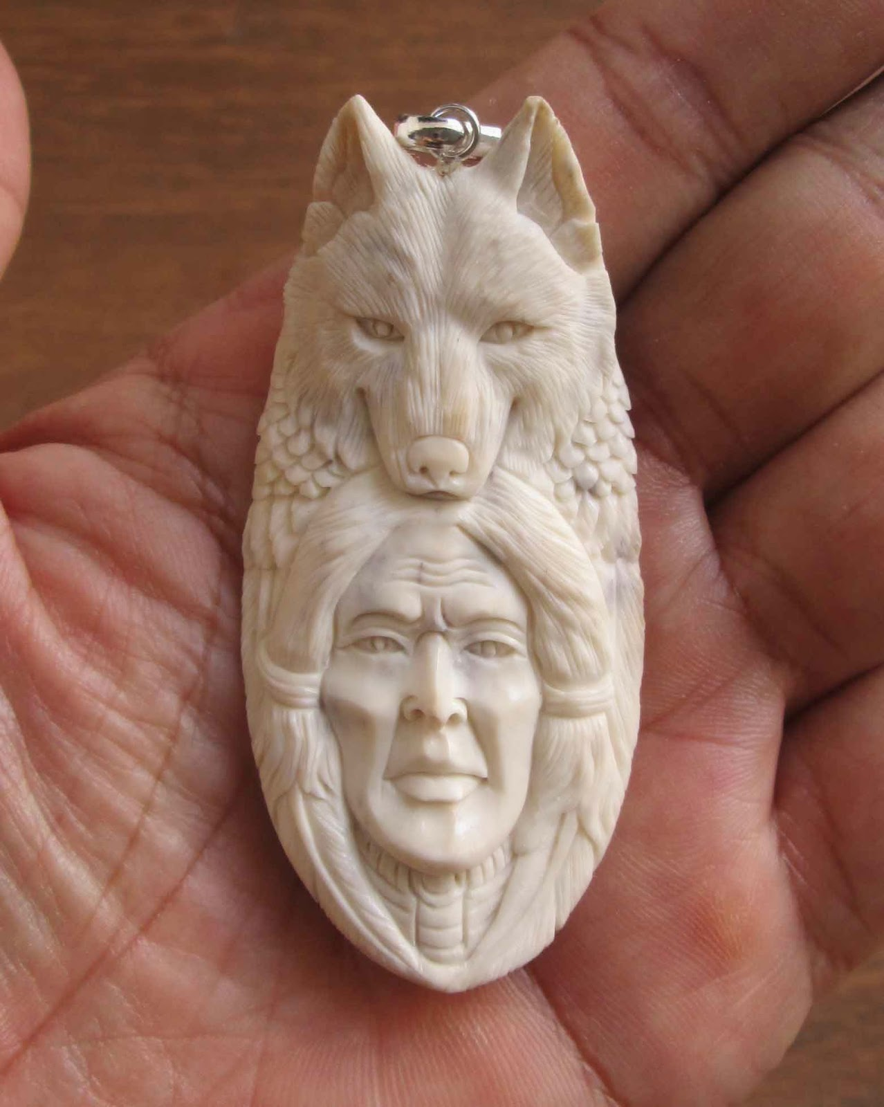Hand Carved Wolf Indian Animal Bone Pendants