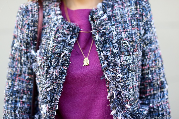 shein multicolor tassel jacket, tweed jacket, karen walker super duper sunglasses, skinny jeans, tory burch simon over the knee boots, coach swagger 20 bag, gorjana necklace, holiday outfit, holiday look