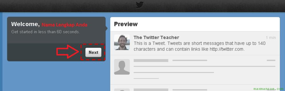 Masuk halaman selamat datang cara membuat Twitter