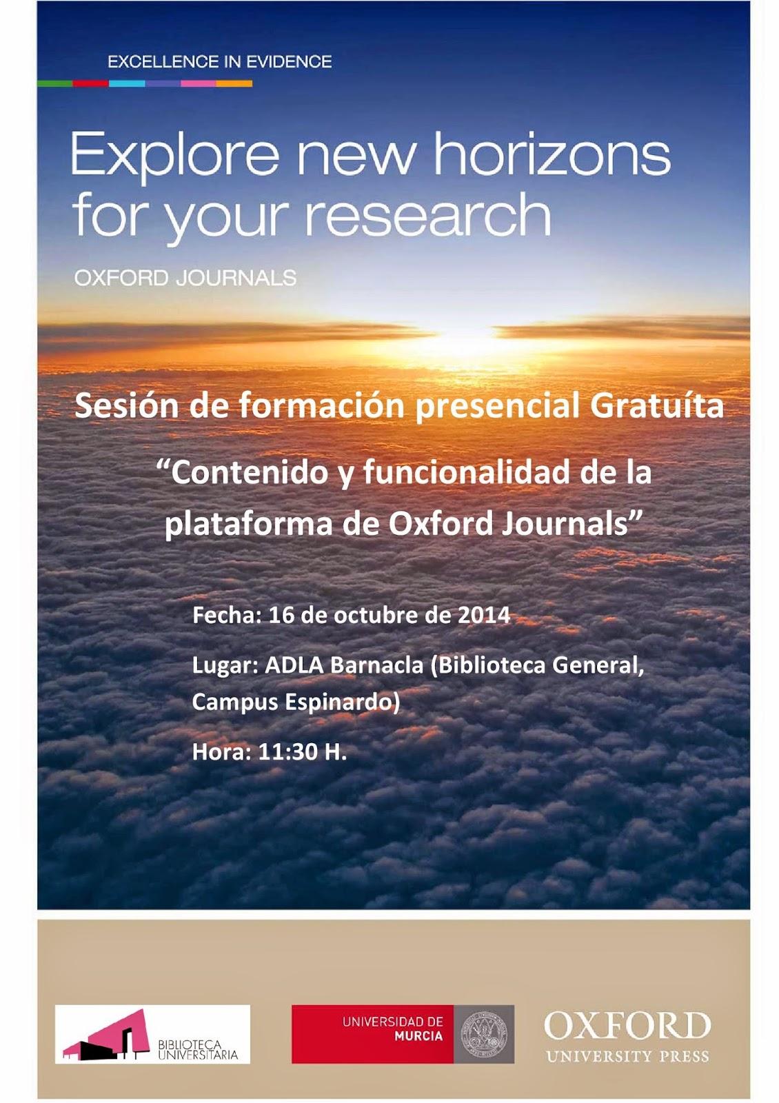 """Formación presencial """"Contenido y funcionalidad de la plataforma de Oxford Journals""""."""