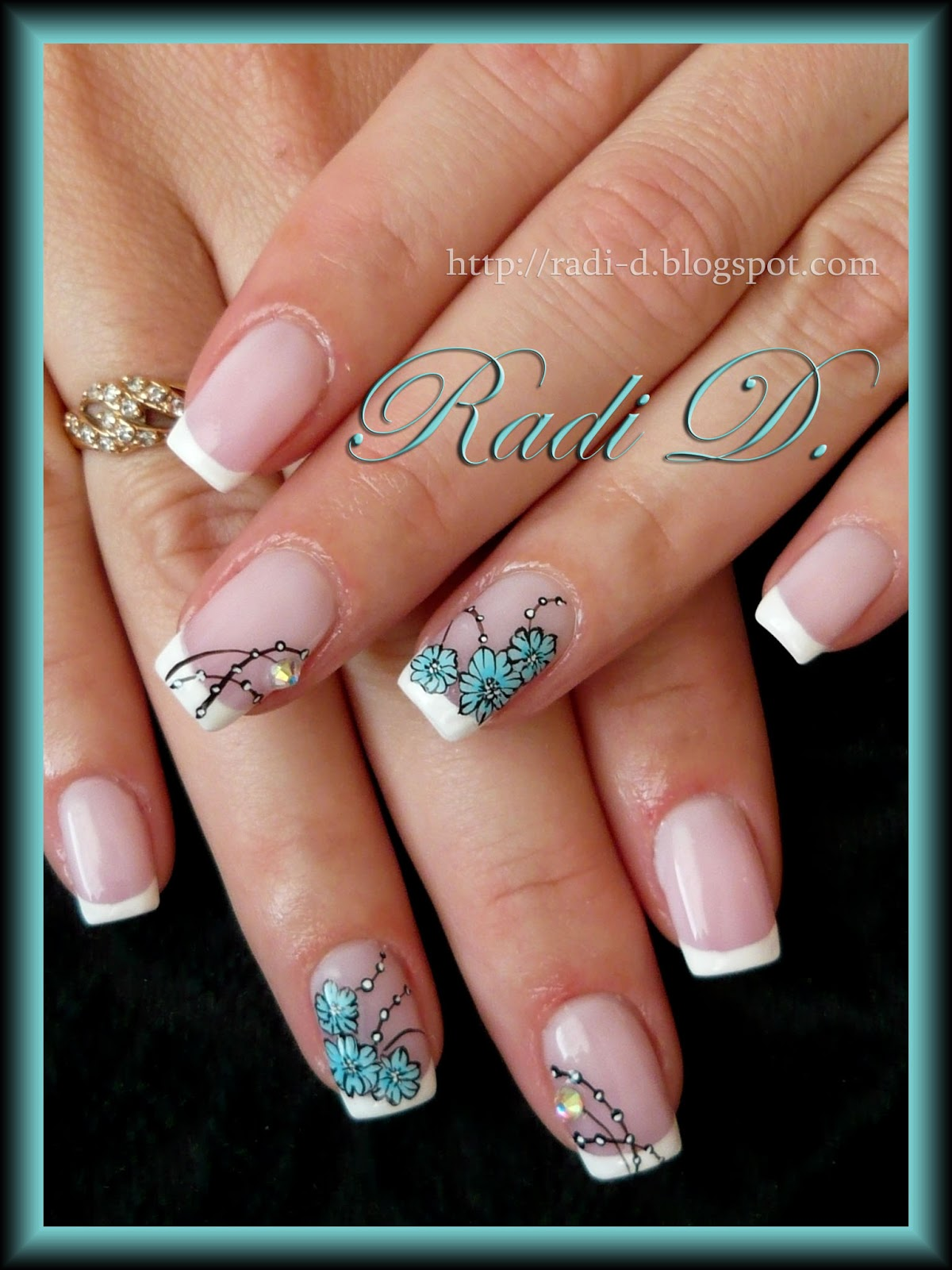 It`s all about nails: French & Blue Flowers
