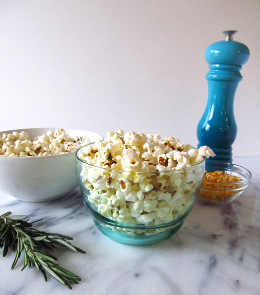 Popcorn flavored with rosemary, black pepper, and butter