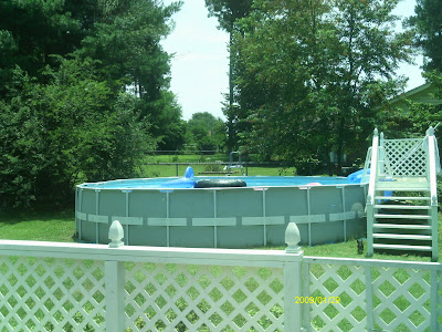 "Intex 24' X 52"" metal frame above ground pool"
