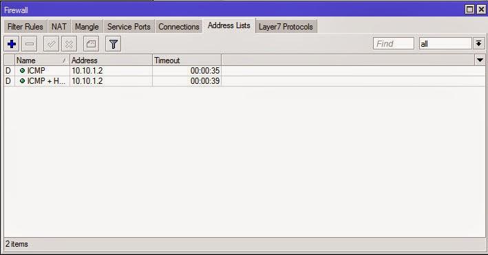 IP kita akan terekam di address list selama 1 menit