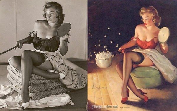 pin up paintings, real women behind pin up paintings-2