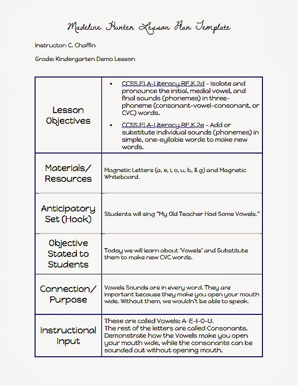 When I Was Interviewing For A Teaching Position At Hardy Brown College  Prep, I Had To Do A Sample Lesson. I Chose The Madeline Hunter Lesson Plan  Template ...