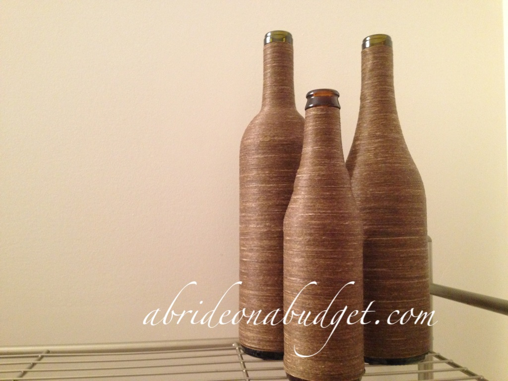 Diy Twine Wrapped Wine Bottle Centerpieces Tutorial A Bride On A
