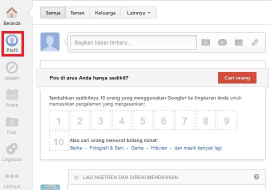 Inilah beranda Google Plus