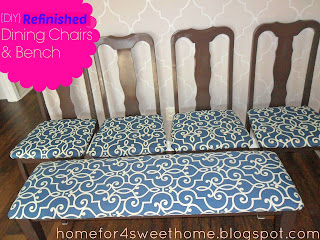 refinished bench and dining chairs