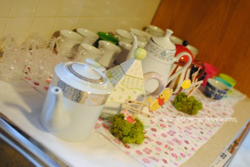 Vintage Teapots. Tea Party Table and Food Display. Disney Winnie the Pooh Birthday Tea Party Decorations and Theme for Toddlers. 2nd Birthday Party Ideas.