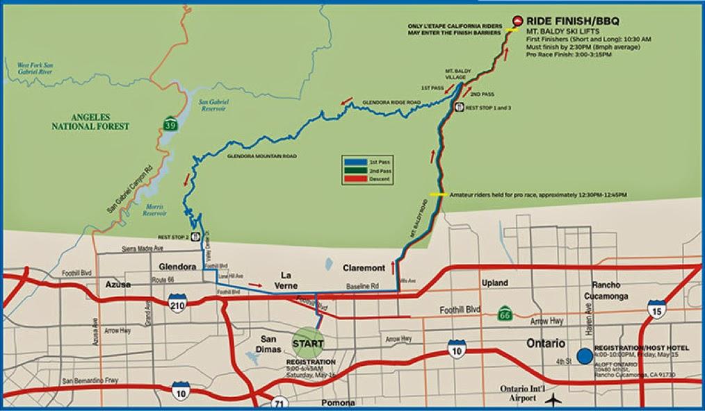 Route of 2015 L'Etape California