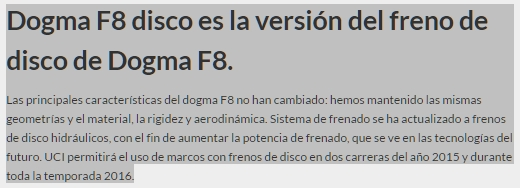 Pinarello DOGMA F8 DISC, nueva versión para 2016