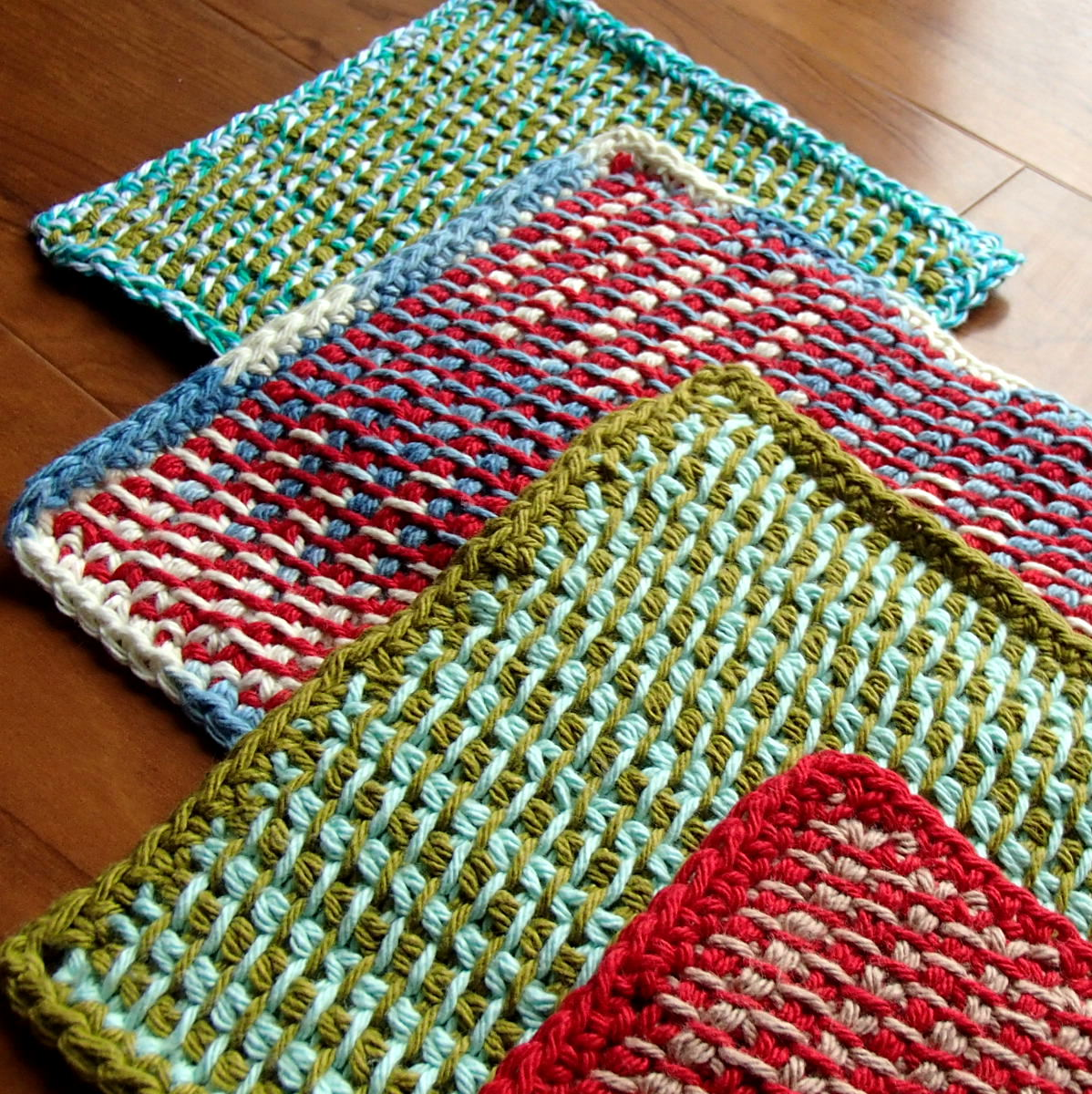 Crocheting With Two Colors : Two color Tunisian Potholders