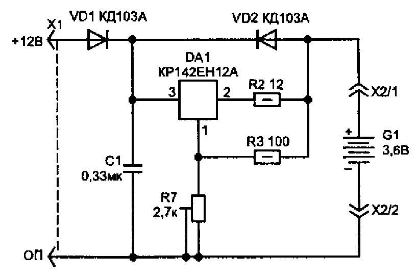 Схема подзарядки аккумуляторного фонаря
