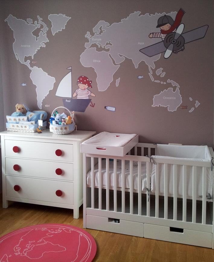 Vinilos infantiles personalizados vinilo mapamundi for Habitaciones infantiles vinilos