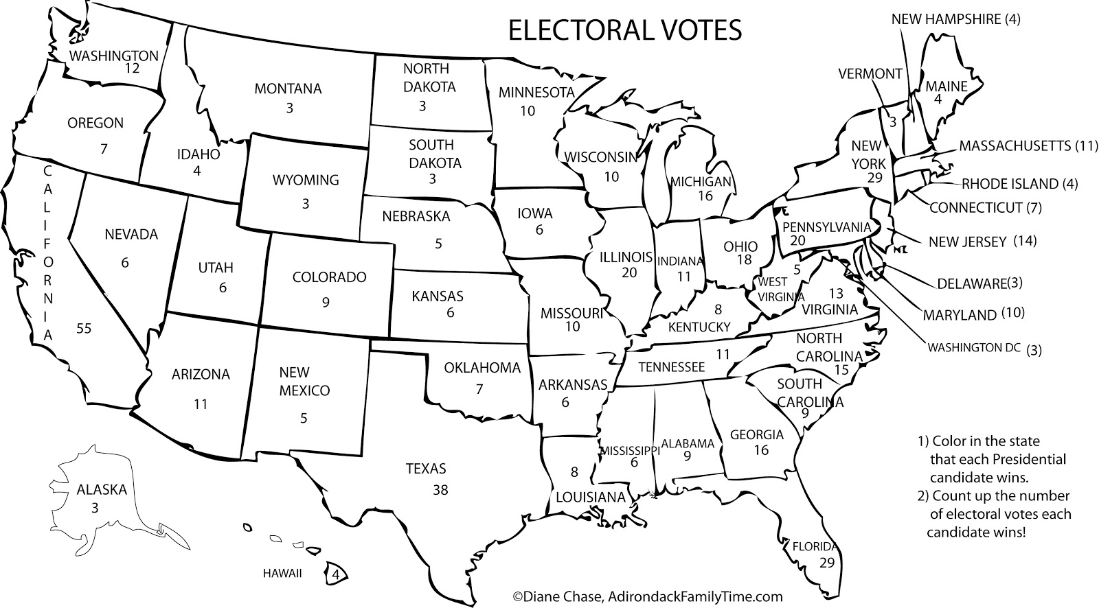 Craft Electoral Voting Map Color in Each State