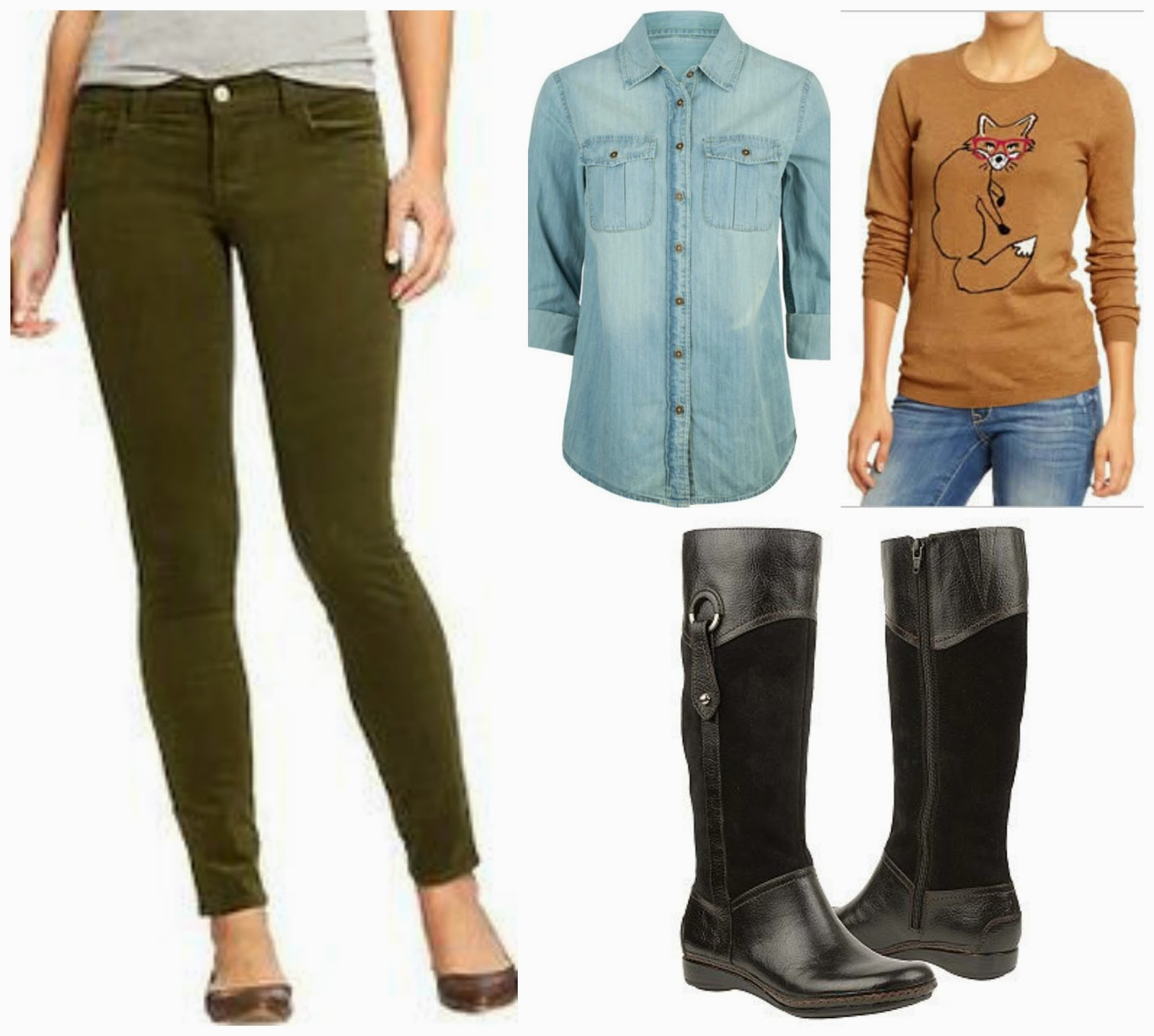 olive corduroy pants, chambray, fox sweater, boots