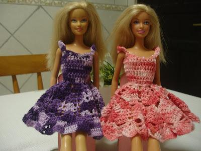Vestidos para Barbie em crochê Lilás e Rosa
