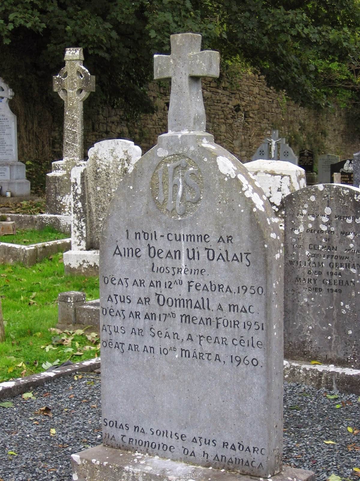 1950s headstone engraved in Irish language found at Castletown Catholic church ruins in southern County Limerick