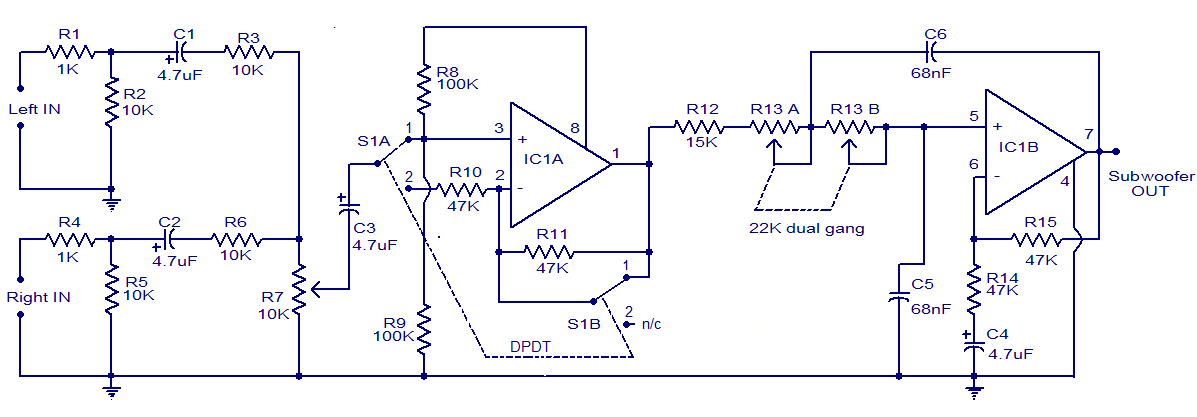 12v dc car simple subwoofer filter electronic schematic circuit rh circuits diagrams blogspot com DVC Sub Wiring-Diagram Crutchfield Sub Wiring-Diagram