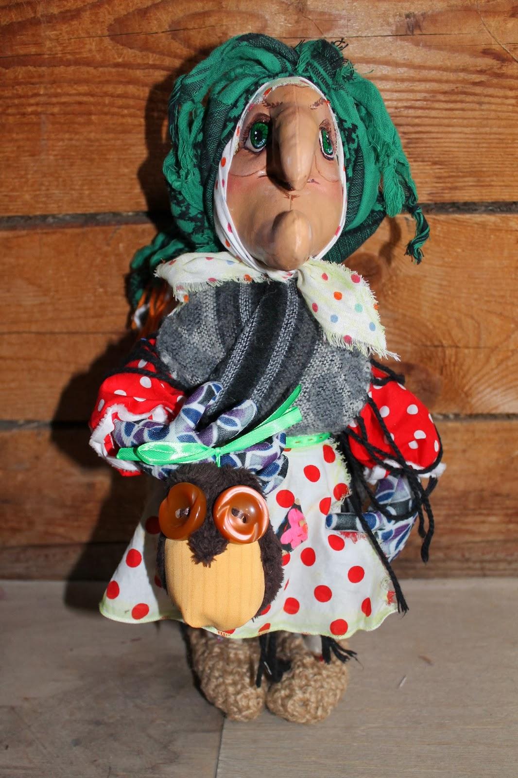 Текстильная игрушка на каркасе Баба Яга