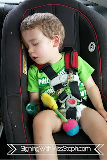 three year old asleep in a car seat after playing at cafe o play