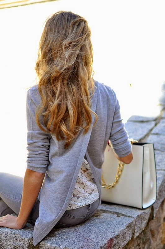 Wearing All Grey Outfit with Open Back and Lace Detail for Spring Look