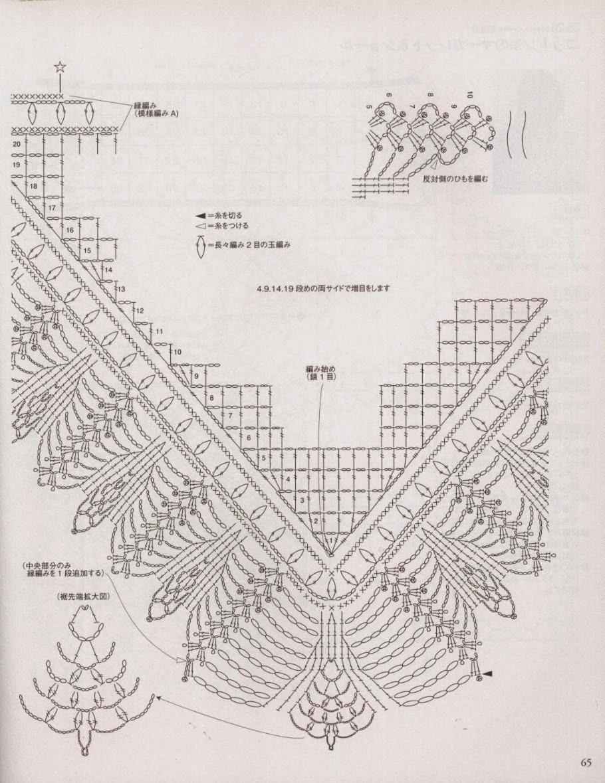 Вязание крючком шали по японским схемам