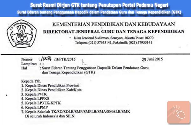Surat Edaran Nomor 16587 / B / PTK / 2015 Tanggal 29 Juni 2015 tentang Penggunaan Dapodik dalam Pendataan Guru dan Tenaga Kependidikan (GTK)