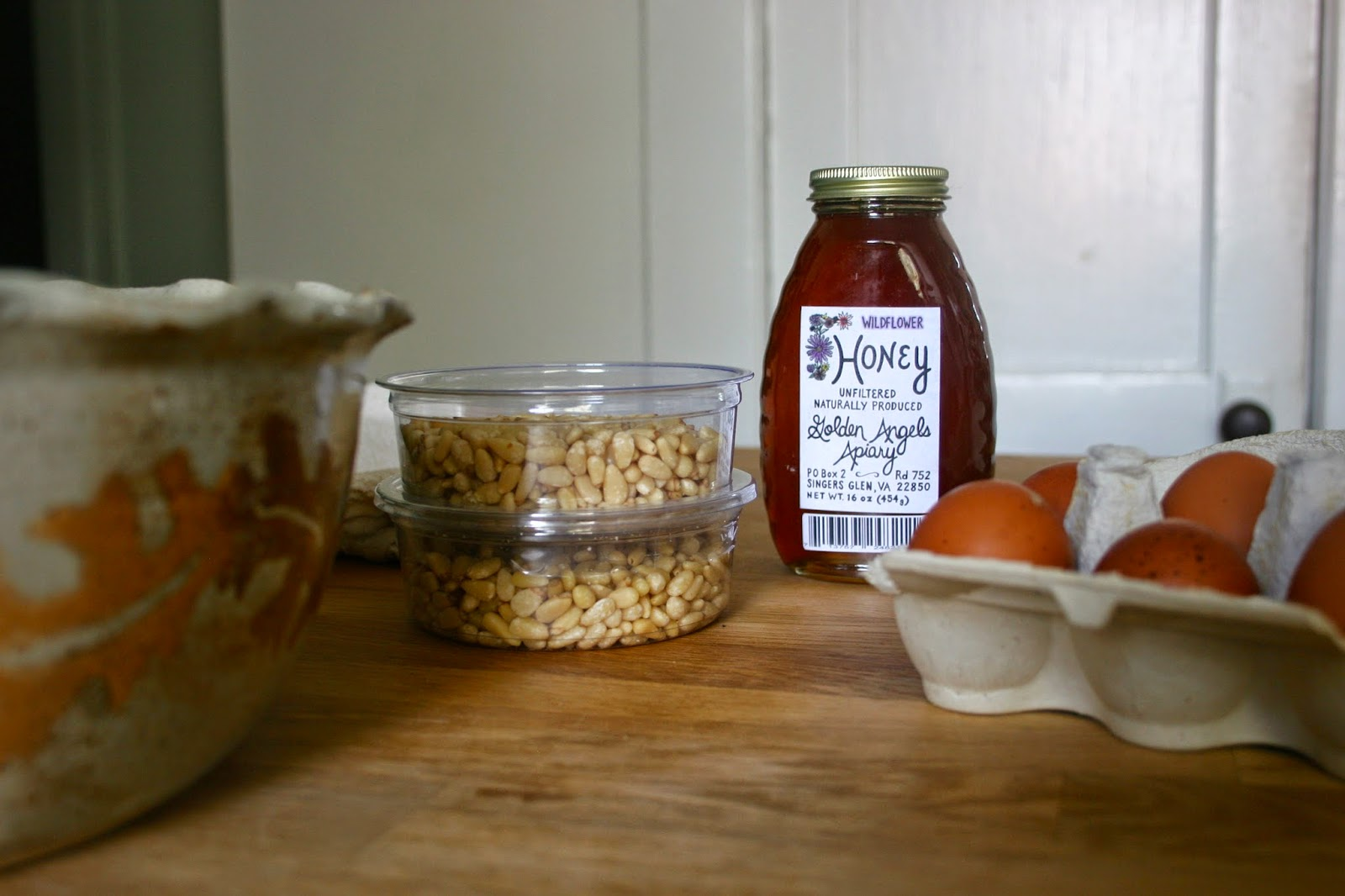 Pine Nut & Honey Tart Ingredients in Kitchen