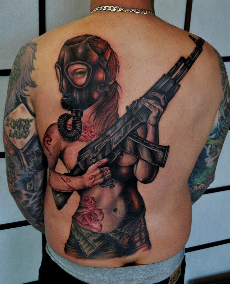 Pin Up Girl with Gas Mask Tattoo